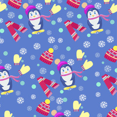 penguins in scarf and hat, winter background