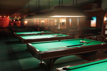 Tables in a billiard room.