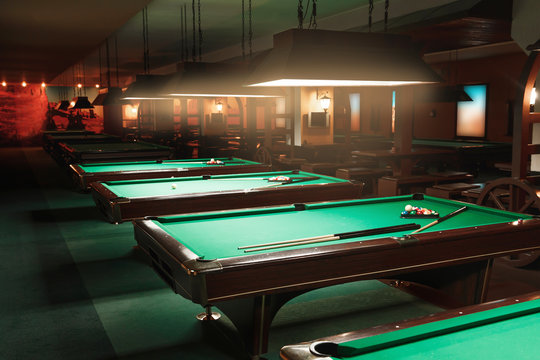 Tables in a billiard room.