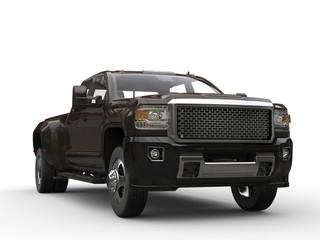 Dark brown modern pickup truck - front view