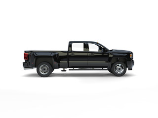 Modern black pickup truck - side view
