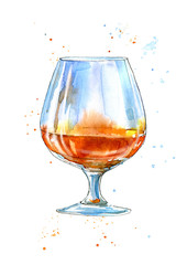 Glass of a cognac.Picture of a alcoholic drink.Watercolor hand drawn illustration.