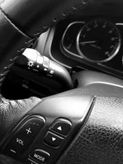 Leather steering wheel car.