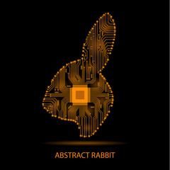 Abstract rabbit. Rabbit as an electronic circuit. Vector illustration.
