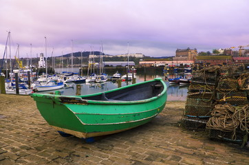 Yorkshire Fishing Coble on the slipway of Scarborough Harbour