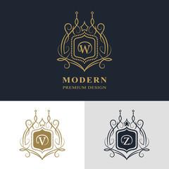 Monogram design elements, graceful template. Calligraphic elegant line art logo design. Letter emblem sign W, V, Z for Royalty, business card, Boutique, Hotel, Heraldic, Jewelry. Vector illustration