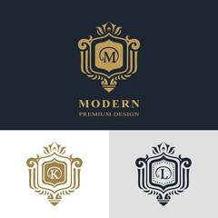 Monogram design elements, graceful template. Calligraphic elegant line art logo design. Letter emblem sign M, K, L for Royalty, business card, Boutique, Hotel, Heraldic, Jewelry. Vector illustration