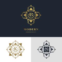 Monogram design elements, graceful template. Calligraphic elegant line art logo design. Letter emblem sign B, K, N for Royalty, business card, Boutique, Hotel, Heraldic, Jewelry. Vector illustration