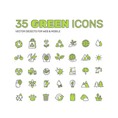 Vector Icon Style Logo Set Design of environment, renewable energy, sustainable technology, recycling, ecology solutions. Icons for website, mobile app design, solar power