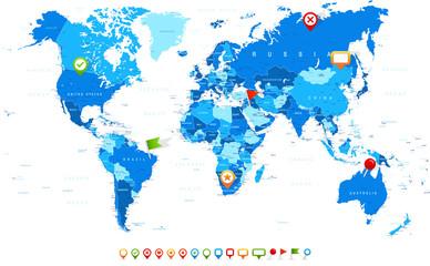 Foto op Plexiglas Wereldkaart Blue World Map and Navigation Icons