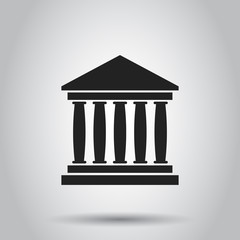 Bank building icon in flat style. Museum vector illustration on gray background.