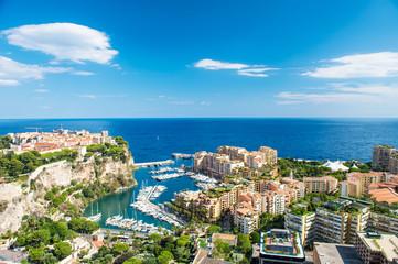 Panoramic view Monaco Fontvieille Mediterranean sea