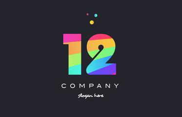 12 twelve colored rainbow creative number digit numeral logo icon
