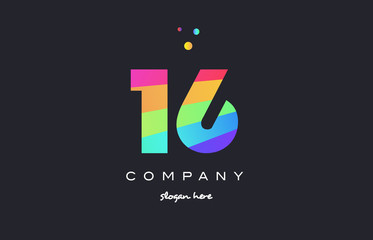 16 sixteen colored rainbow creative number digit numeral logo icon