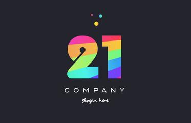 21 twenty one colored rainbow creative number digit numeral logo icon