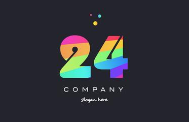 24 twenty four colored rainbow creative number digit numeral logo icon