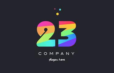 23 twenty three colored rainbow creative number digit numeral logo icon
