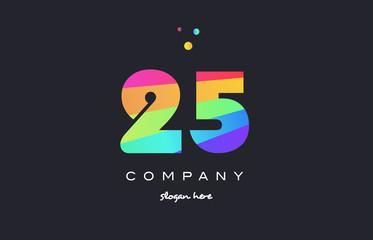 25 twenty five colored rainbow creative number digit numeral logo icon