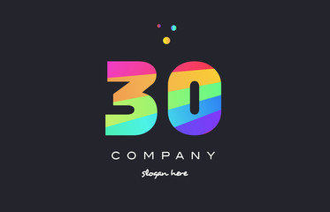 30 thirty colored rainbow creative number digit numeral logo icon