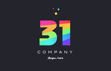 31 thirty one colored rainbow creative number digit numeral logo icon
