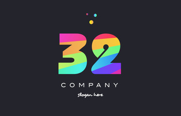 32 thirty two colored rainbow creative number digit numeral logo icon