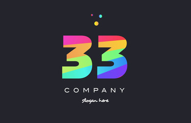 33 thirty three colored rainbow creative number digit numeral logo icon