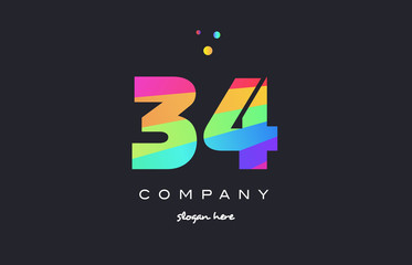 34 thirty four colored rainbow creative number digit numeral logo icon