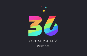 36 thirty six colored rainbow creative number digit numeral logo icon