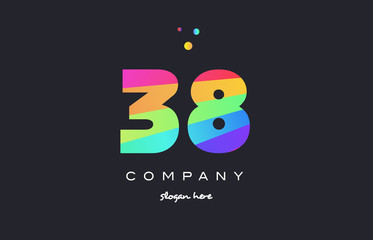 38 thirty eight colored rainbow creative number digit numeral logo icon