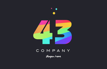 43 forty three colored rainbow creative number digit numeral logo icon