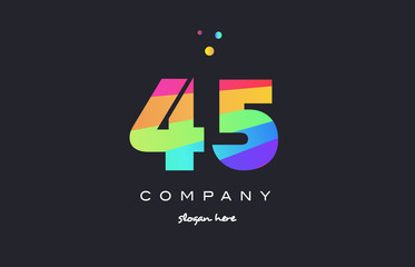 45 forty five colored rainbow creative number digit numeral logo icon