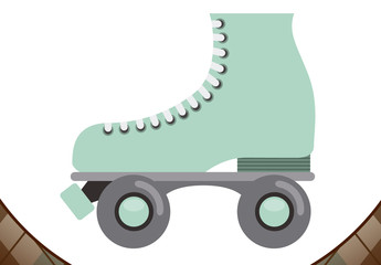 Retro Roller Skate Logo Layout with Background