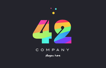 42 forty two colored rainbow creative number digit numeral logo icon