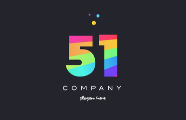 51 fifty one colored rainbow creative number digit numeral logo icon