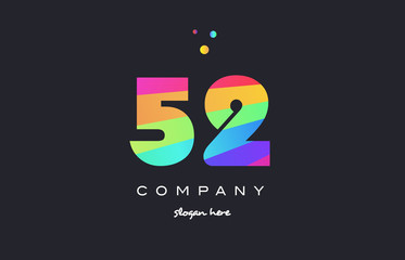 52 fifty two colored rainbow creative number digit numeral logo icon