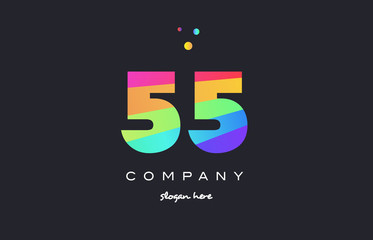 55 fifty five colored rainbow creative number digit numeral logo icon