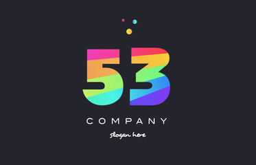 53 fifty three colored rainbow creative number digit numeral logo icon