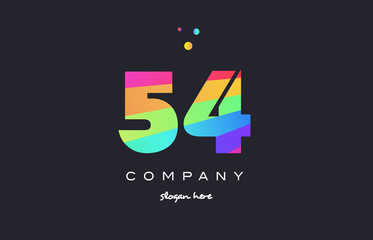54 fifty four colored rainbow creative number digit numeral logo icon