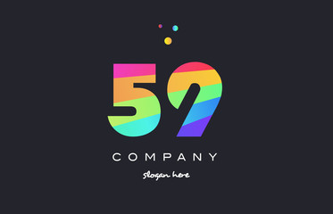 59 fifty nine colored rainbow creative number digit numeral logo icon