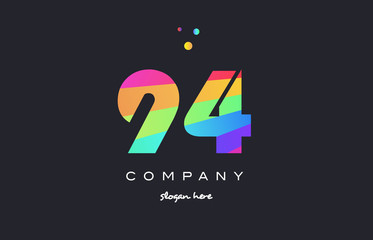 94 ninety four colored rainbow creative number digit numeral logo icon