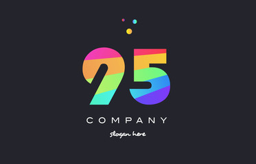 95 ninety five colored rainbow creative number digit numeral logo icon