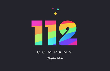 112 colored rainbow creative number digit numeral logo icon