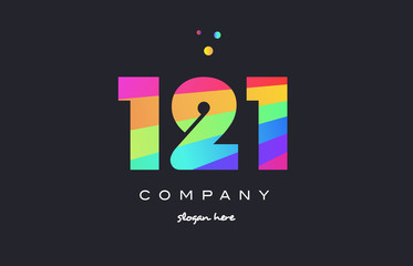 121 colored rainbow creative number digit numeral logo icon