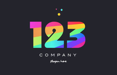 123 colored rainbow creative number digit numeral logo icon