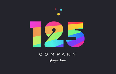 125 colored rainbow creative number digit numeral logo icon