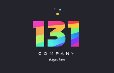 131 colored rainbow creative number digit numeral logo icon