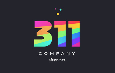 311 colored rainbow creative number digit numeral logo icon