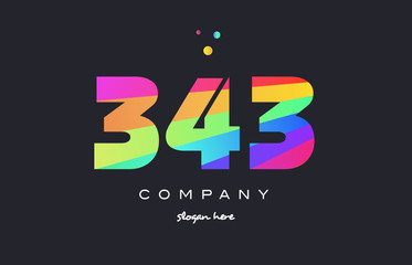 343 colored rainbow creative number digit numeral logo icon