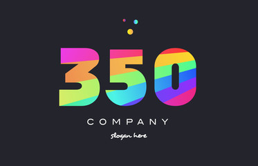 350 colored rainbow creative number digit numeral logo icon
