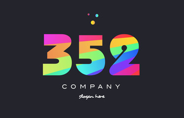 352 colored rainbow creative number digit numeral logo icon